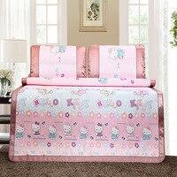3pcs/set Bed Clothes Hello Kitty Slip Non-woven Sleeping Mat Folding Silk Ice Cool Summer Bedding Pillow Bed Sheet D1