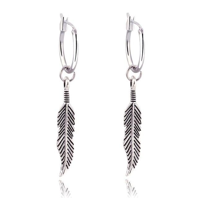 GEOMEE 1Pair Bohemia Vintage Dangle Earing Feather Leaves Pendant Leaf Drop Earr