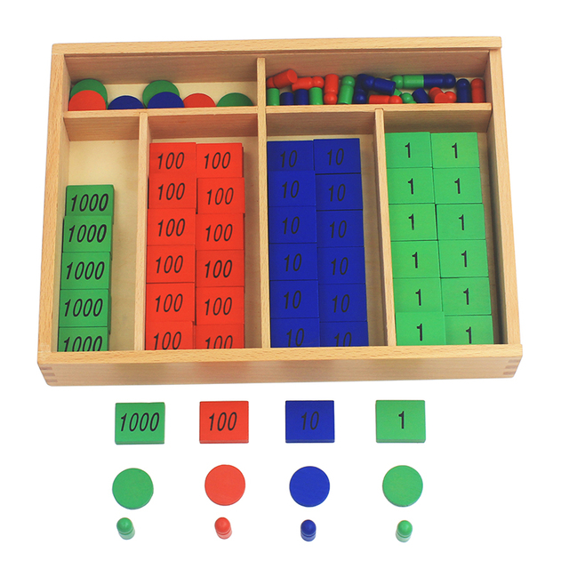 New Arrival Montessori Materials Wooden Toys Stamp Game Large Size Beech Wood Math Kids Early