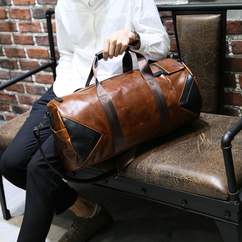 Xiao.P Brand Retro Brown Bucket Travel Bags Large Crazy Horse PU Leather Handbags Shoulder Bag Men Business Luggage Bag