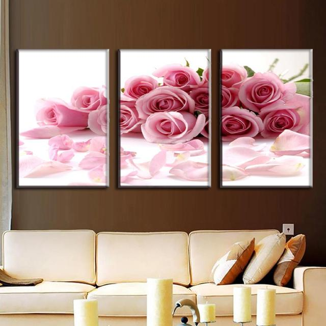 3 Pcs Set Pink Rose Wall Picture With Frames Modern Flower Painting Prints On
