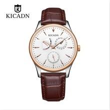KICADN sleek minimalist slim mens watch Japanese movement calendar week steel KSL5010G