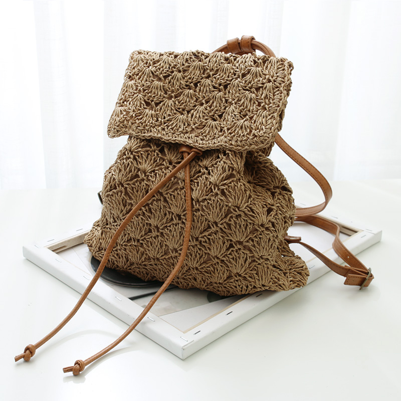 Hollow Rattan Women Backpacks Designer Straw Bags for Girls School Bags Summer Beach Women Bags Leather Strap Shoulder Bag 2019