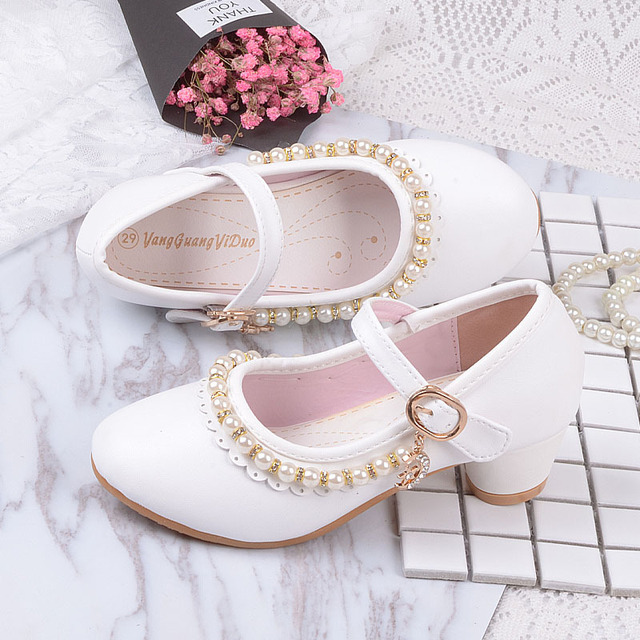 2019 childrens white Beaded leather shoes little girls kids dress party wedding school prinses shoes big girls high heel shoes
