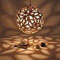 Global bola de madeira De Madeira De Carvalho moderna Minimalista Artes Criativas DIY Luminárias luzes Pingente Pendurado Luminária lâmpada de Iluminação Da Lâmpada E27