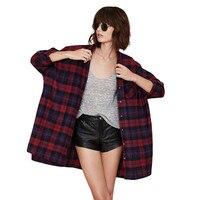Korean Preppy Vintage Oversized Long Women Blouse Wine Red Plaid BF Cool Punk Rock Girl Blusas