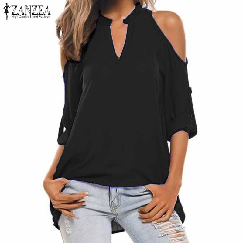 2018 ZANZEA Summer V Neck Long Sleeve Shirt Women Casual Off Shoulder Solid Blouse Autumn Loose Work OL Top Blusas Plus Size
