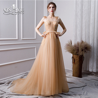 QSYYE 2019 New Long Prom Dresses Robe de Soiree Spaghetti Straps Sweetheart Floor Leneth Tulle Beaded Lace Evening Dress Party