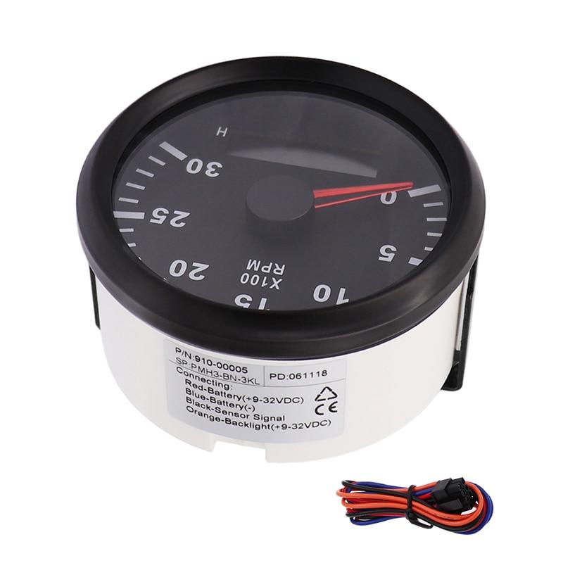 85mm 3k Marine Tachometer Digital 3000 Rpm Gauge Hour Meter Led Fit Car Auto Motorcycle Red Backlight 12v 24v
