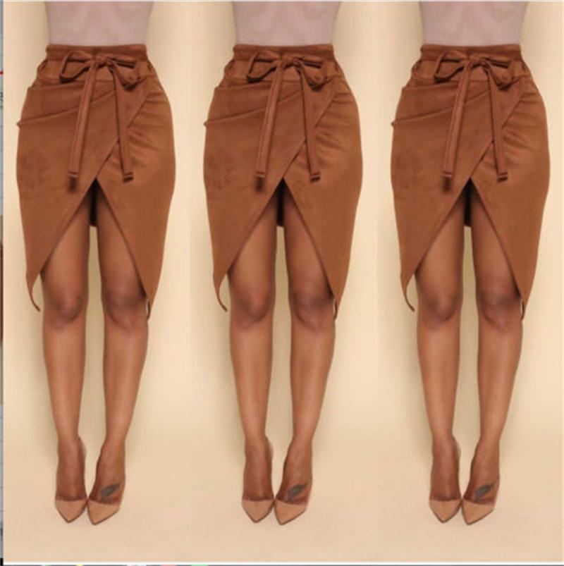 2019 Fashion Autumn Winter Women Girls lace up leather suede pencil skirt Bandage high waist skirt Brown bodycon short skirts