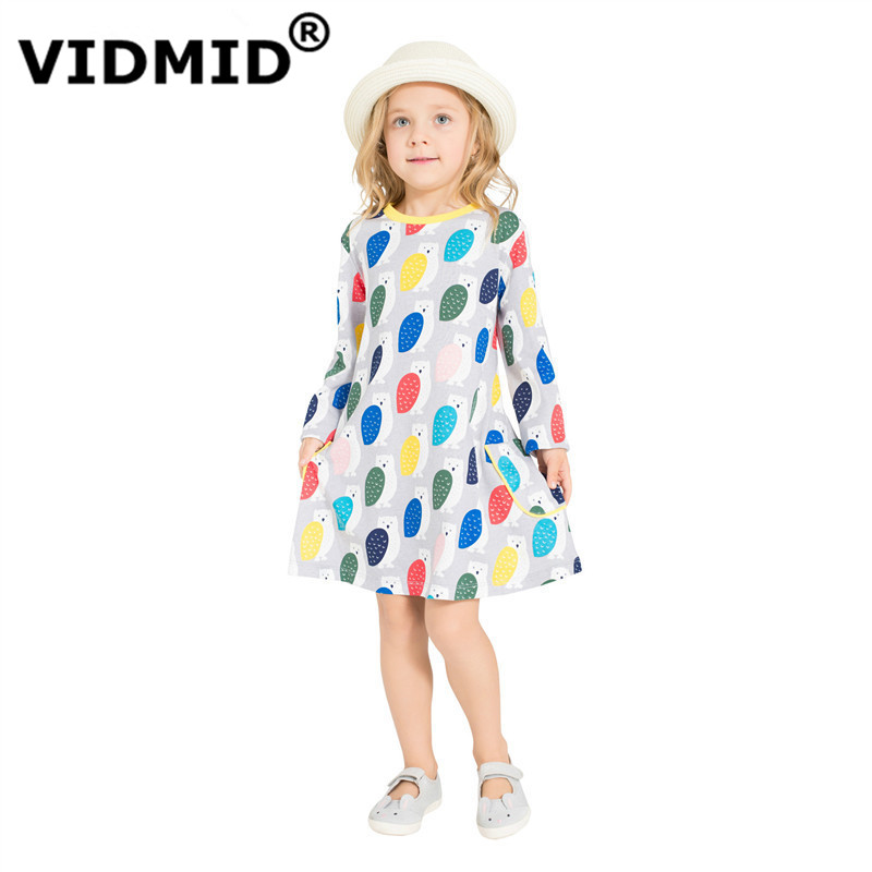 VIDMID Baby Girls Dresses Cotton Brand Autumn Dress for big girls long sleeve Clothes Children t-shirts blouse Dresses Clothing