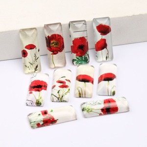 reidgaller 20pcs rectangle 10x25mm mixed poppy flower photo round dome glass cabochons diy handmade jewelry accessories