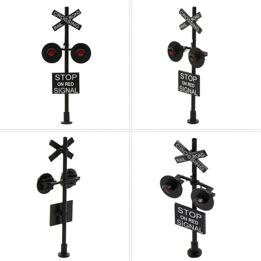 6PCS HO Scale Railroad Crossing Signals 4 heads LED made +