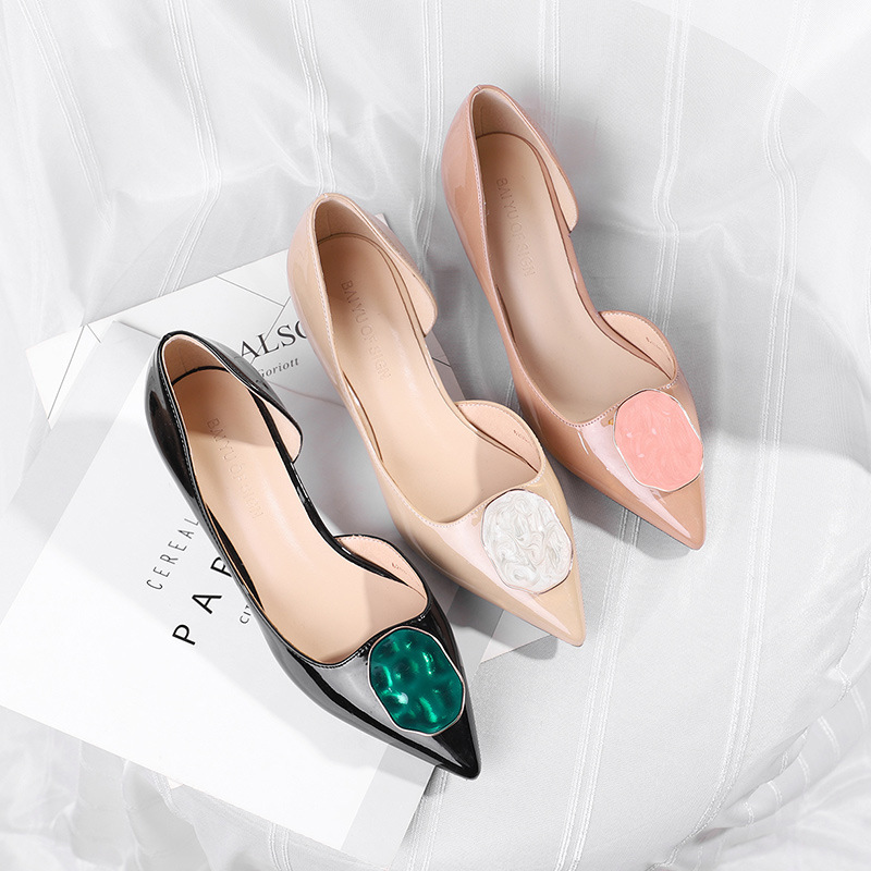 Buckle Pumps Womens Shoes High-Heels Sexy Stiletto Square Pointed Elegant Fashion Patent