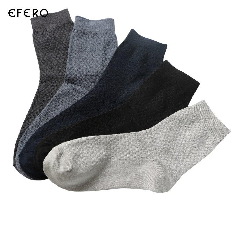 1 Pair efero Mens Business/Casual Mans Socks Solid Color Breathable Comfortable Short Socks Fashion Mens Dress Socks Meias