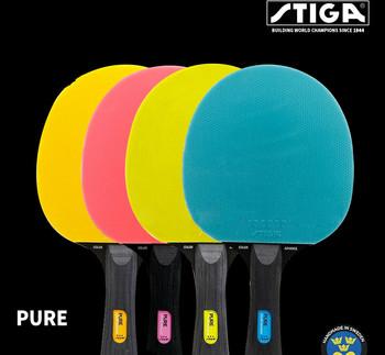Oryginalny Stiga czystego kolor rakieta do tenisa stołowego podwójne pryszcze w guma Ping Pong rakiety tanie i dobre opinie 160*152mm Ciężki końcówka światło uchwyt (obraźliwe) PURE Poziomym uchwytem Czystego drewna