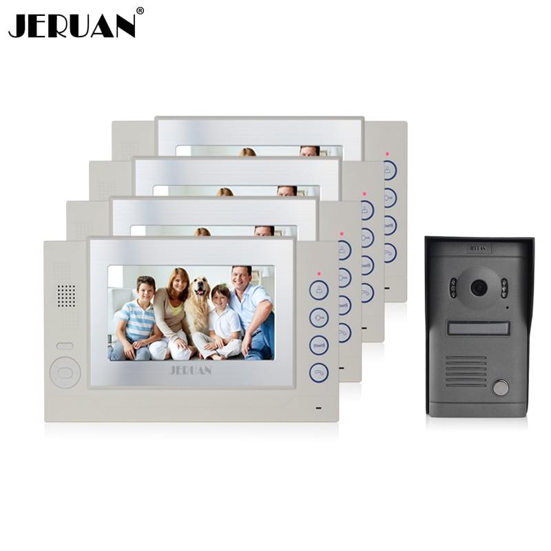 цены JERUAN 7 inch video door phone intercom system doorphone recording pahoto taking doorbell rain cover hands-free speaker intercom