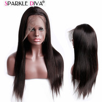 Malaysian Remy Straight Human Hair Full Lace Wig With Baby Hair And Hair Line In Natural Color Long Length Hair Wig Sparkle Diva