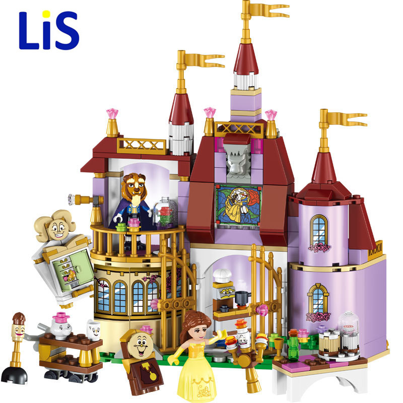 Lis 37001 Beauty and The Beast Princess Belle's Enchanted Castle Building Blocks Girl Friends Kids Toys Compatible with Lepin aladdin and the enchanted lamp stage 1 cd rom