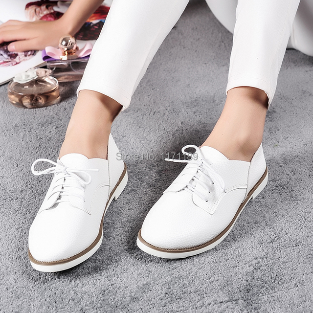 Blackwhite Womens Lace Up Ballet Flats Oxfords Loafers Girl Casual