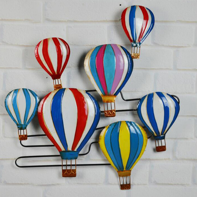 Vintage Home Decor Metal Craft Wall Art Wrought Iron Hot Air Balloon For The Old Mural