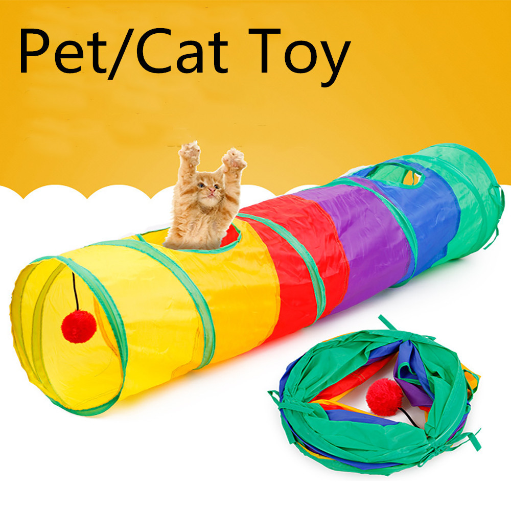Pet Tunnel Cat Printed Green Crinkly Kitten Tunnel Toy With Ball Play Fun Toy Tunnel Bulk Cat Toys Rabbit Play Tunnel