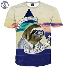 2017 Mr.1991INC New Fashion Animal Gentleman printed males 3d t-shirt summer time tops letters LIVE SLOW DIE WHENEVER graphic tshirt B1