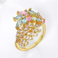 Luxury Lady Ring Fancy Design Leaf Shape Light Pink Blue Zircon Stones AAA Quality Gold Color
