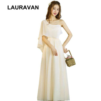 special occasion formal long prom champagne chiffon womens modest gown dress one shoulder ladys women's party dresses size 8