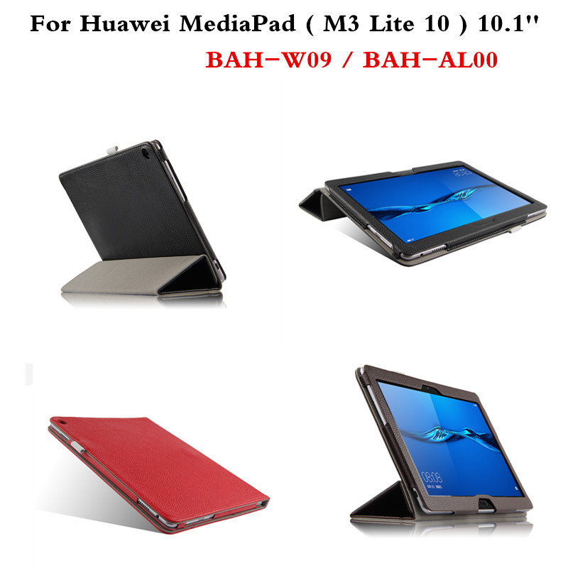 Luxury Genuine Leather Cover  Slim Protective Book Case For Huawei MediaPad  M3 Lite 10 BAH-W09 BAH-AL00 10.1'' Tablet PC ultra slim magnetic stand leather case cover for huawei mediapad m3 lite 8 0 cpn w09 cpn al00 8tablet case with auto sleep