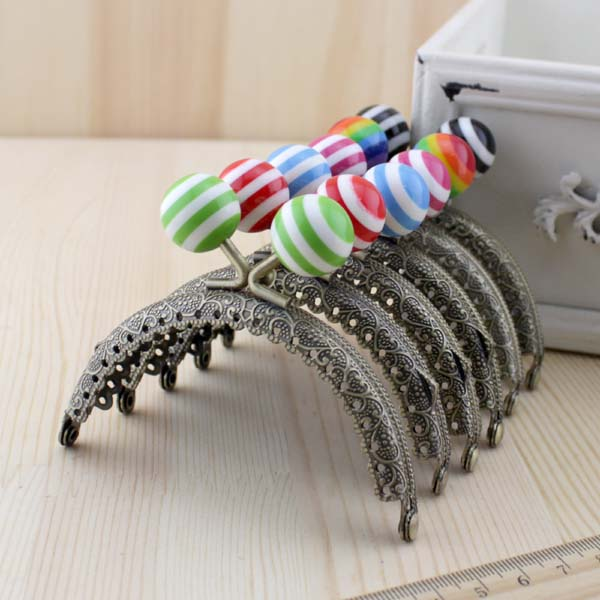 10pcslot 85 cm stripe lollipop bead metal purse frame semicircle embossed antique bronze lace - Metal Purse Frames