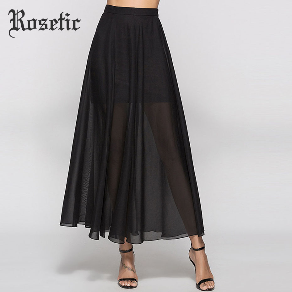 Rosetic Women summer Skirts Sexy Fashion Slim Sexy Gothic Party Long Girl Skirt Black Slit Chiffon See-Through Mesh Patchwork