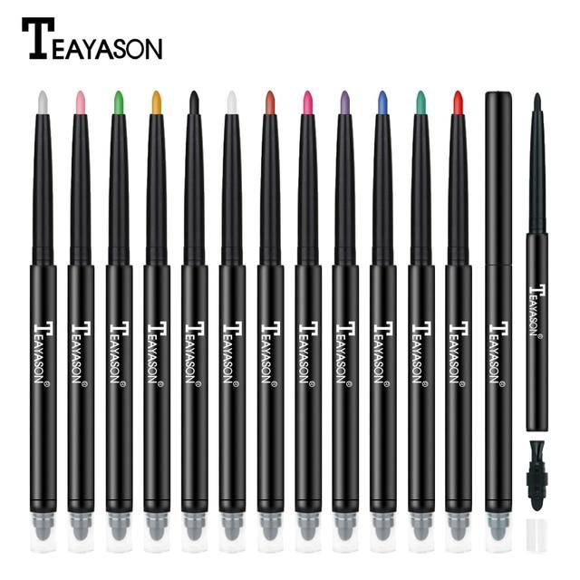 Teayason dual ended eyeliner pencil with sponge 12 color gold glitter eye liner waterproof long lasting matte eyeliner gel AM068 2