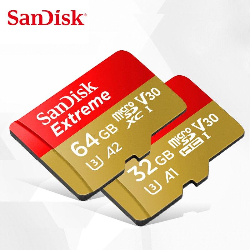 SanDisk Extreme Cartão de Memória GB 32 64GB microSDHC/micro SDXC UHS-I U3 cartão micro SD Leia a Velocidade Para Cima a 100 MB/s Cartão TF V30 4K UHD