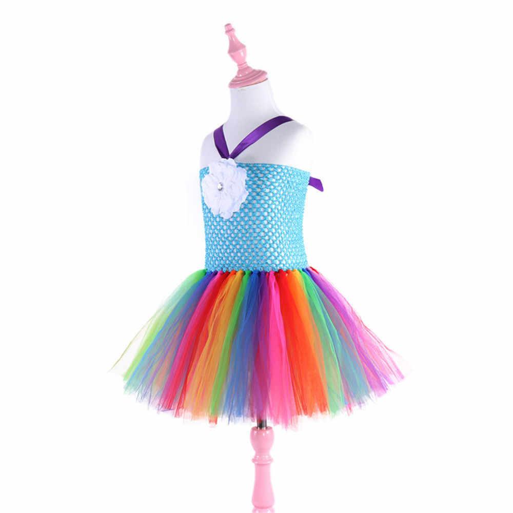 Bohemia flor vestido de arco iris unicornio vestidos de fiesta para niñas Tutu vestido de princesa niños tul vestidos de baile vestido de traje de niña