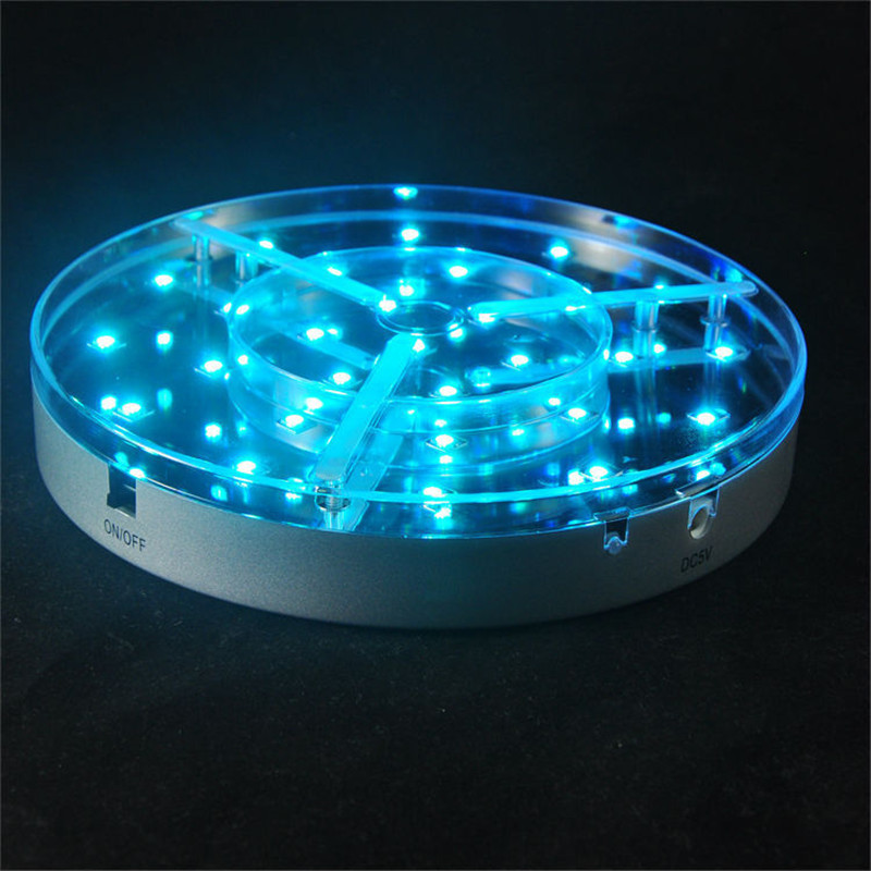 Pieces lot rf remote controlled round led light base