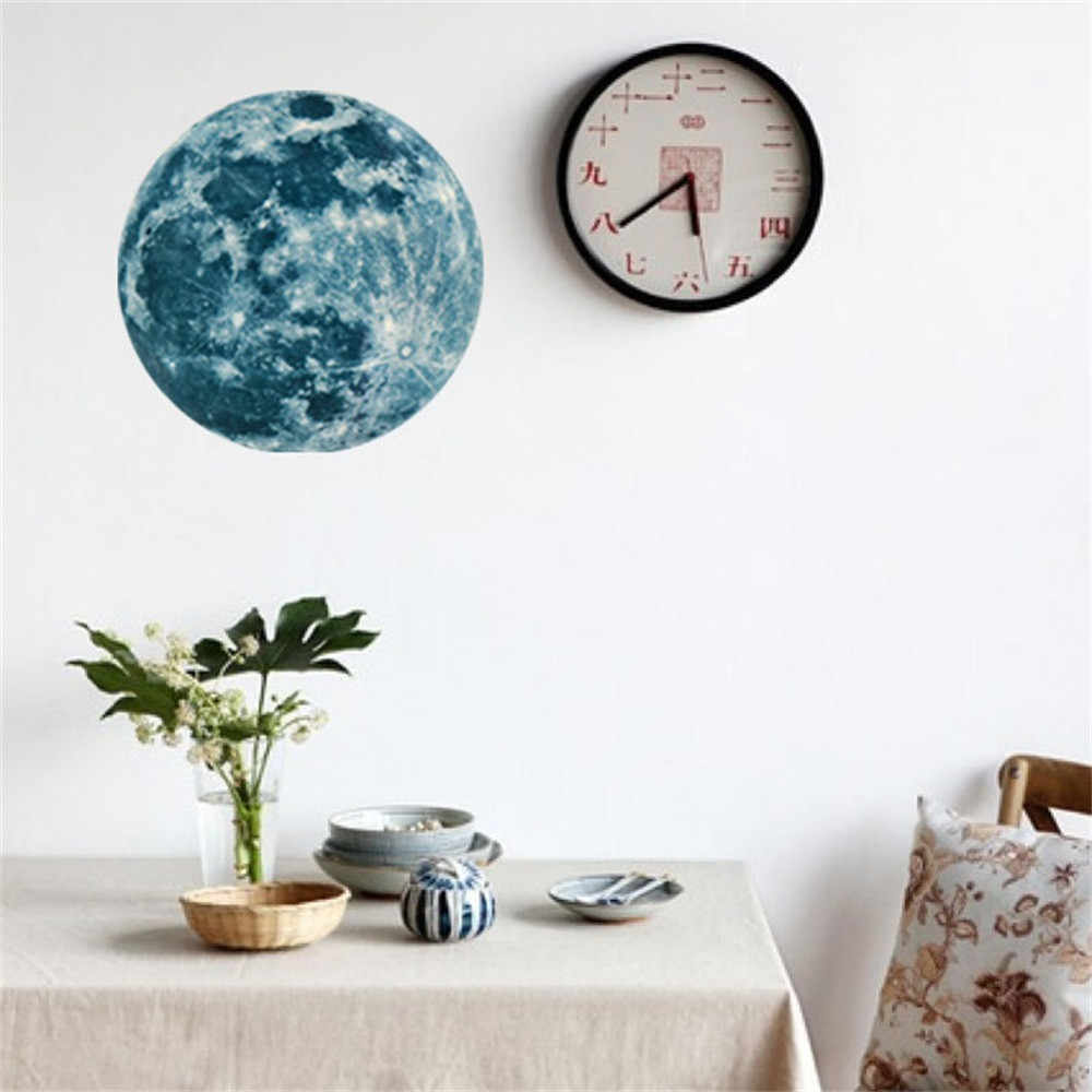 5 см 12 см 20 см 3D большой луна люминесцентные стены Стикеры съемный светятся в темноте Стикеры домашний декор стен-документы Оптовая EY11