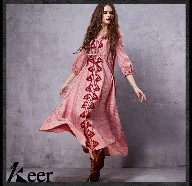 Vintage ankle-length v neck print maxi dress 2018 spring autumn summer long boho ethnic festival dresses for women gown robe
