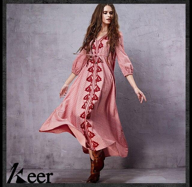 e05b0bc2a1 Vintage ankle-length v neck print maxi dress 2019 spring autumn summer long  boho ethnic festival dresses for women gown robe
