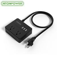 NTONPOWER Mini Portable USB Power Strip 2 AC Sklepy z 3 USB Ładowarki US Wtyczka Gniazdo stopy/1 M Przewód Zasilający do Iphone6/7