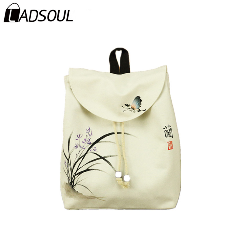 Ladsoul Fashion Women Canvas Backpack Chinese Style Lady Versatile Zipper Art Flower Painting Concise String Hasp Bags A3060 /h