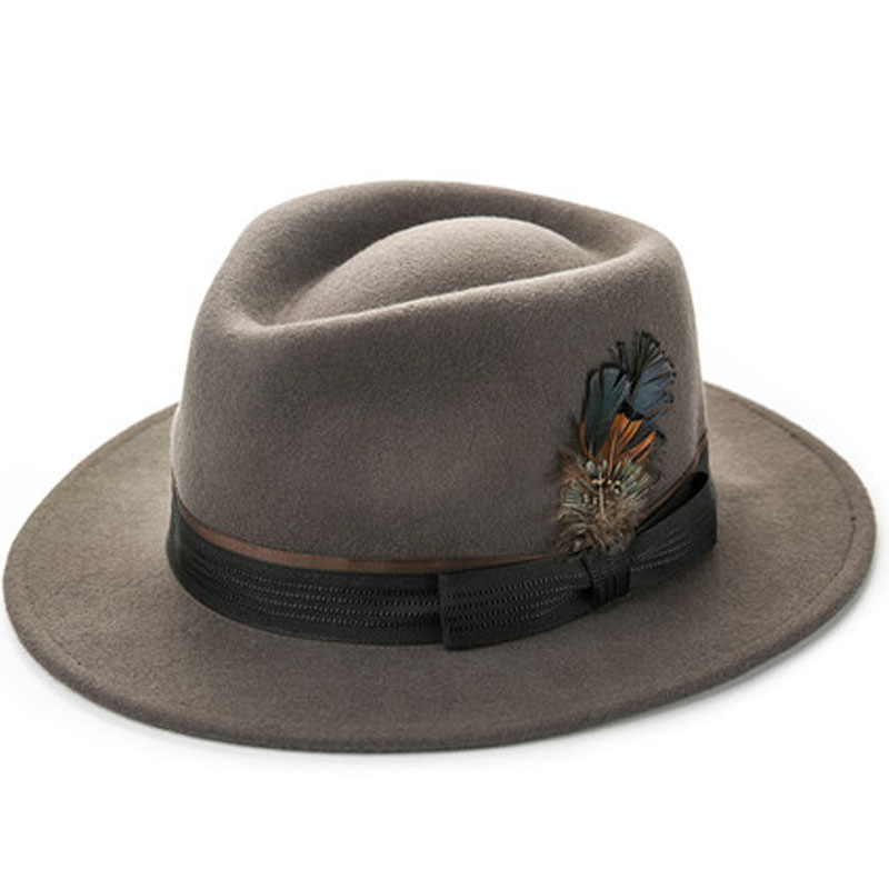21fd6428e1d FS Mens Hats Fedoras Wide Brim Astralia Wool Fedora Autumn Winter Panama Felt  Hat Trilby Feather Caps For Gentleman Black-in Fedoras from Apparel ...