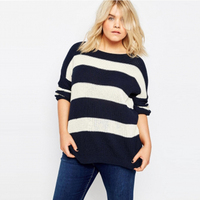 2017 Winter Plus Size Stripe Women Sweater Basic Oversize Chunky Knit Sweaters Simple Pullover Top 5XL 6XL Loose Knitted Jumper