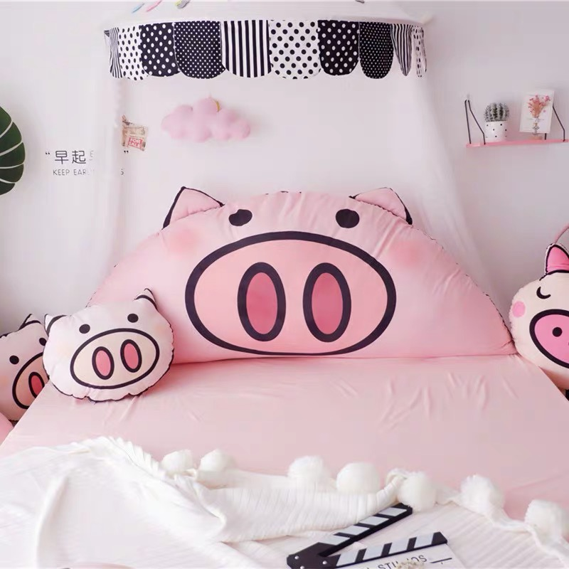 1.5M 1.7 Bed Cushion Washable Bedside Pillow Printed Pink PIG Giant Size Bedside TV Reading Throw Pillow For Girls Room Decor