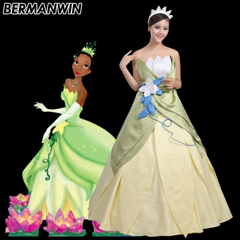 BERMANWIN High Quality The Princess and the Frog Princess Tiana Costume Dress Adult Women Halloween Cosplay Costume
