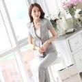 Novedad Gris Trajes de Negocios Profesional Con Chaquetas Y Pantalones Mujer Trajes de Verano de Las Señoras Pantalones Conjuntos Uniformes