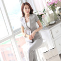 Novelty Grey Professional Business Suits With Jackets And Pants Female Pantsuits Summer Ladies Trousers Sets Uniforms