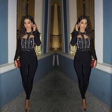 Top Quality Black Long Sleeve Mantual Beading Sexy Bandage Jumpsuits Cocktail Pa