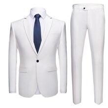 Suit 2-piece suit (coat + pants) men's solid color business casual suit 20 colors optional high quality groom wedding dress suit suit lemoniade suit