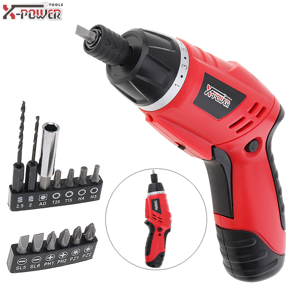Mini 100~240V Cordless 4.8V Folded Handle Rechargeable Electric Screwdriver with LED Lighting and Two-way Rotating Head